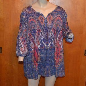 Catherines Purple Paisley Peasant Shirt Size 2x